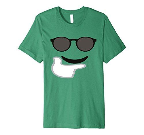 Mens Premium T-Shirt Fun Emoticon Face Happy Sunglasses Big Cool Medium Kelly (Cool 2 People Costumes)