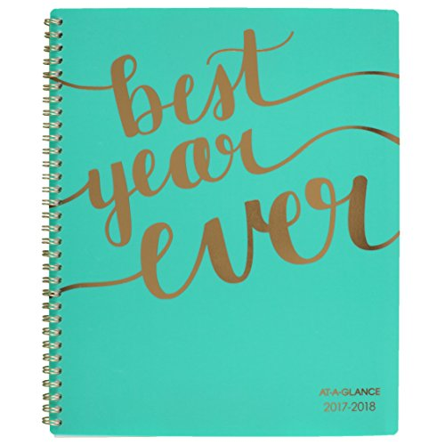 "AT-A-GLANCE Academic Weekly / Monthly Planner, July 2017 - June 2018, 8-1/2"" x 11"", Aspire, Mint (1022-905A-42)"