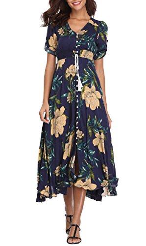 VintageClothing Women's Half Sleeve Floral Print Maxi Dresses Boho Button Up Split Beach Party Dress