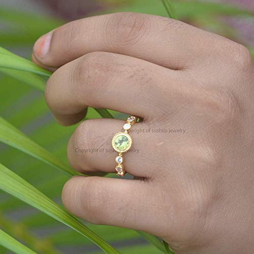 Genuine Peridot Gemstone Cocktail Ring Solid 14k Yellow Gold Handmade Diamond Pave -