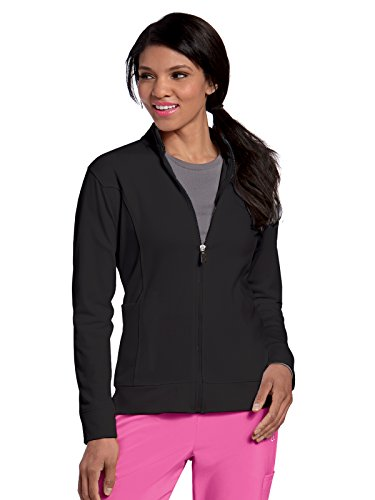 Landau Urbane Performance 9872 Women's Empower P-Tech Warm-up Scrub Jacket Black M