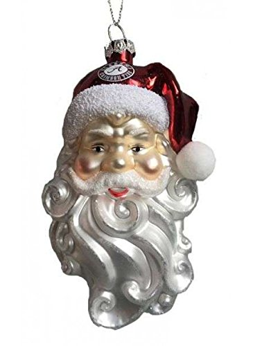 Alabama Crimson Tide Blown Glass Santa Christmas Ornament ()