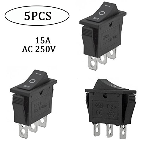 URBEST AC 15A/250V 20A/125V Plastic Metal Black 3 Pin On-Off-On Terminals SPDT Snap Rocker Switch(Pack of 5)