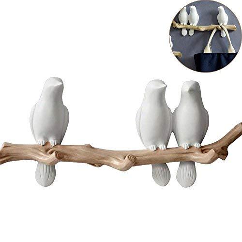 WINGOFFLY Decorative Birds On Tree Branch Wall Mounted Coat Hanger for Coats/Hats/Keys/Towels(Three Birds) - Mounted Tree