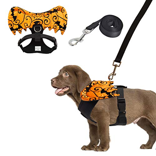 EXPAWLORER Halloween Costume Dog Harness and Leash Set with Detachable Wing and Label Adjustable Breathable Cotton Vest Black for Cats and Dogs Medium