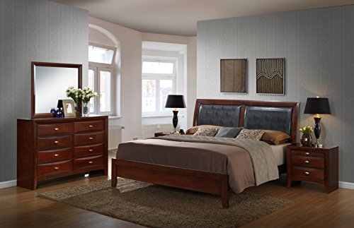 Merlot Panel Bed (Roundhill Furniture Emily 111 Contemporary Wood Bedroom Set with Bed, Dresser, Mirror, 2 Night Stands, King, Merlot)