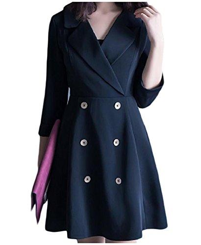 Coolred-femmes Élégantes De Haute Robe Tunique Blazer De Couleur Unie Taille Haute Noir