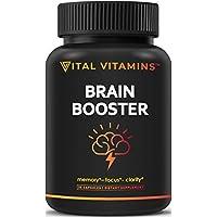 Brain Supplement Nootropics Booster – Enhance Focus, Boost Concentration, Improve Memory & Clarity For Men & Women, Ginkgo Biloba, DMAE, Mind Enhancement, IQ Neuro Energy, Vitamin B12, Bacopa Monnieri
