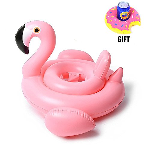 Loveyikee Pink Flamingo White Swan Baby Swim Ride-On Float Swimming Pool Toys Inflatable Swimming Ring for Kids Perfect for Summer Play Pool Toys for Baby (Pink Flamingo)