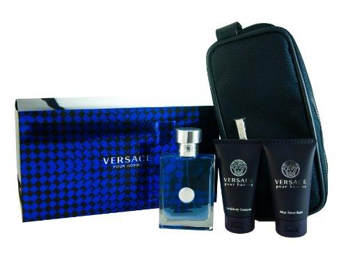 Versace Pour Homme Gift Set 4 Pcs Includes 3.4 Oz Edt, 1.7 Oz Shower Gel , 1.7 Oz After Shave Balm and Trousse