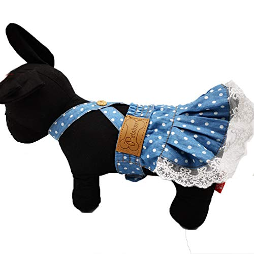 kyeese Dog Cosplay Costume Dress Polka Dot with Lace Adjustable Elastic Waist Size All Matching Pet -