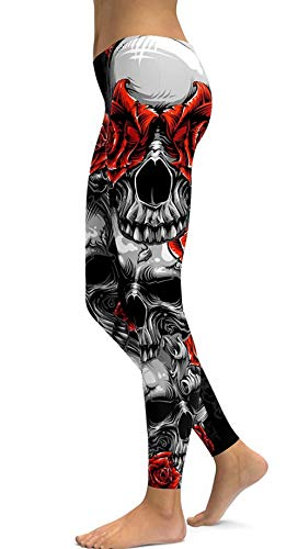 sissycos Women's Rose Skull Printed Capris Pants Leggings Ankle Length Elastic Tights (Red Rose, XXXX-Large)