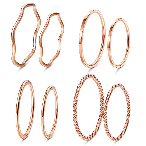 LOYALLOOK 8Pcs Thin Stacking Rings Stainless Steel Knuckle Midi Ring for Women Girls Rose Gold-Tone Size 3-9