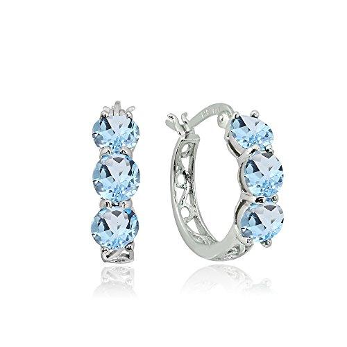 Sterling Silver Blue Topaz Round Filigree Three Stone Hoop - Topaz Earrings Blue Silver Hoop