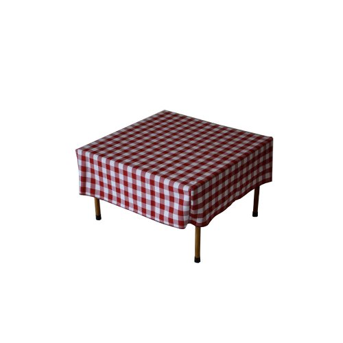 Table in a Bag TC2828RW Square Polyester Gingham Tablecloth, 28-inch by 28-inch, Red and White Checkered (Plaid Desk)