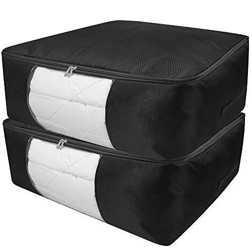 AMJ 93L Large Bedroom Underbed Storage Bag, Seasonal Garment Organization, Space Saving Bag with Transparent Window, Black, Pack 2