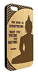 Genuine Maple Wood Organic Buddha Inspirational Quote Snap-On Cover Hard Case for iPhone 5C