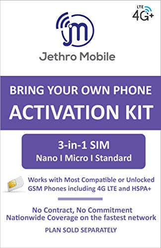 Jethro Mobile 3-in-1 [Mini/Micro/Nano] Bring Your Own Phone Pre-Paid SIM Kit