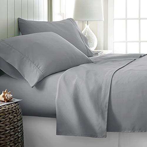 "Trend Bedding Mart- 415 Thread Count - 100% Peruvian Pima Cotton -4 Piece Bed Sheet Set, Solid Fits 16"" Deep Pocket Mattress Bed Sheet Set (Cal King, Silver)"