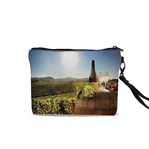 Wine Portable Art Storage Bag with Cosmetics,White Wine with Barrel on Famous Vineyard in Chianti Tuscany Agriculture Decorative For Women Girl,9