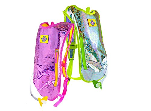 Dan-Pak Hydration Pack Retro Raver 2 Pack! - Retro Raver Pink and Retro Raver Silver- Pink/Yellow and Silver/Green Holographic Backpack