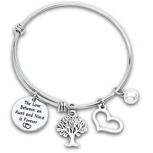 Hopyee Aunt Bracelets for Women Aunt Niece Bracelet Aunt Gifts Bracelet Engraved the Love between Aunt and Niece is Forever Aunt Gifts from Niece Bracelet