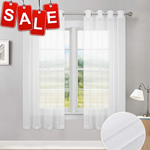 PONY DANCE Sheer Curtain White - 55 inch W x 45 inch L Short Window Sheer Valances Linen Look Semi-Transparent Tiers Voile Grommet Kitchen Curtains for Small Windows, Set of 2 (Window Curtains White Transparent)