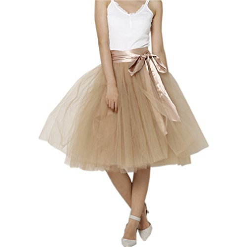 Lisong Women Knee Length Bowknot Layered Tulle Party Prom Skirt 10 US Nude]()