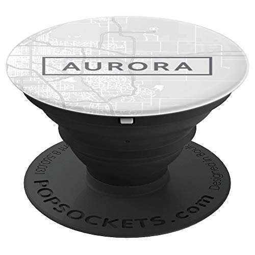 Aurora City Colorado CO Street Map White - PopSockets Grip and Stand for Phones and Tablets -