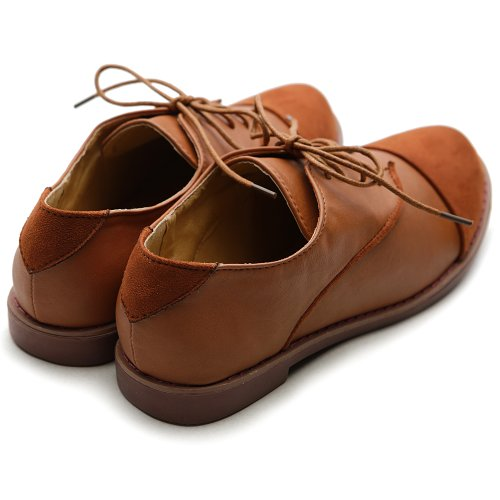Tone Up Suede Brown Flat Oxford Ollio Faux Women's Two Shoe Lace qSIww8f6