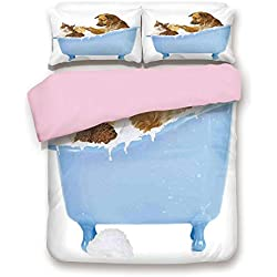 Pink Duvet Cover Set,King Size,Dog and Kitty in the Bathtub Together with Bubbles Shampooing Having Shower Fun Artsy Print,Decorative 3 Piece Bedding Set with 2 Pillow Sham,Best Gift For Girls Women,M