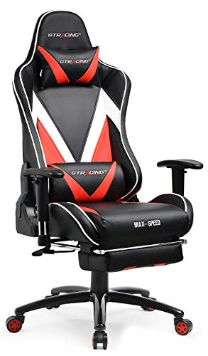 GTRACING Gaming Chair with Footrest Ergonomic Racing High Back Swivel Desk Chair Adjustable Headrest and Lumbar Support Recliner Napping Chair GT004 Black Red