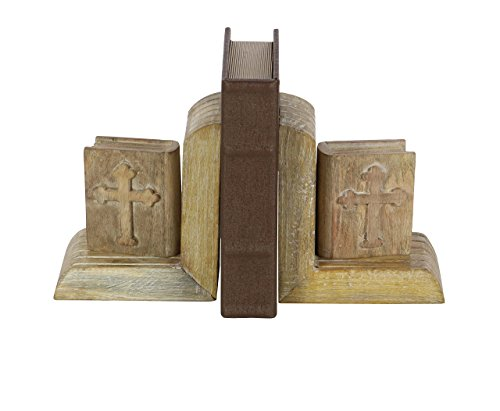 Deco 79 66176 Pair of Mango Wood Miniature Bible Bookends, 7