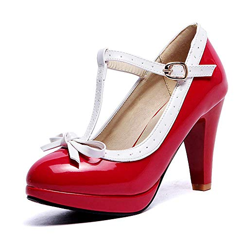 (Lucksender Fashion T Strap Bows Womens Platform High Heel Pumps Shoes (9.5, Red2))
