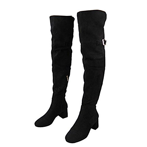 Thigh 8 Over Heel Strap Knee 3 The Ladies Black Mid High Size Buckle Boots 47axa1