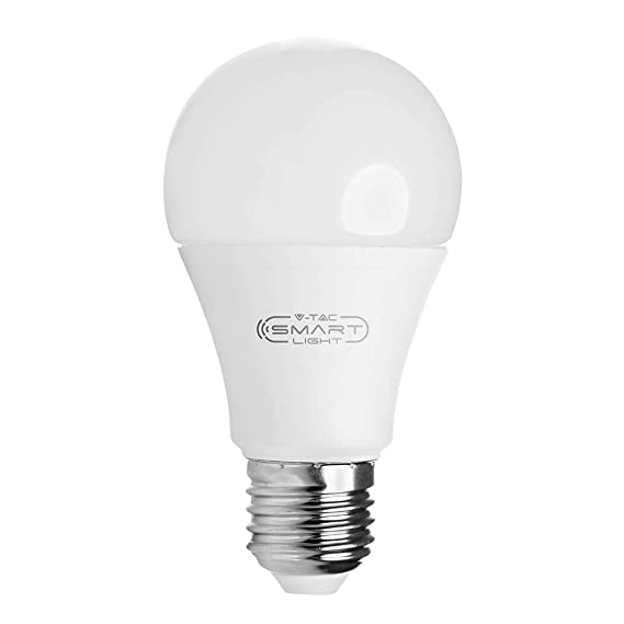 No Hub Required Auto On//Off V-TAC 9W Smart WiFi LED Bulb E27 Standard Edison Screw Base Dimmable Compatible with Alexa and Google Home RGB 3000K White and Multicolored