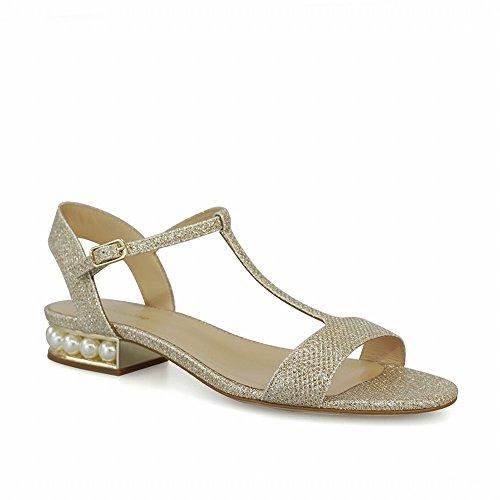 Ouverts Et Chaussures 35 Talons Romaines Or en Glitt T à Talons avec DHG à des Sandales Flash qwIBtt