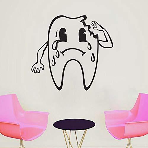Diente Roto Con Lágrimas Pegatinas de Pared para Niños Clínica Dental Fondo Arte en Casa Decoración Vinilo Murales Impermeables 48X42 cm