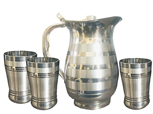 Kuber Industries Pure Stainless Steel Jug Pitcher 1500 ML for Storage & Serving Water with 3 Steel Glass - Kettle Casserole