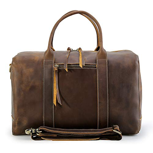 Men's Vintage Leather Travel Duffel Casual Overnight Weekender 17