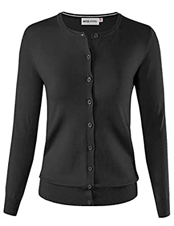 MAYSIX APPAREL Long Sleeve Lightweight Button Down Round Neck Knit Sweater Cardigan for Women Black S
