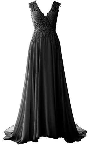 MACloth Elegant V Neck Long Prom Dress Vintage Lace Chiffon Formal ...