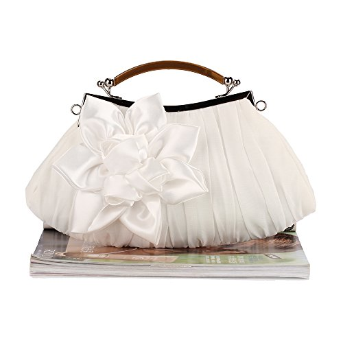 Evening Embellish Collection Out Palazen Party Floral Clutch White Sheer Chiffon Exterior naqx0gfwRq