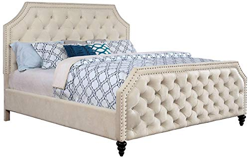 (Esofastore Claudine Collection Classic Contemporary Beautiful Gorgeous Queen Size Bed Beige Fabric Nailhead Trim Crystal Like Acrylic Button Tufted HB FB Bedroom Furniture)
