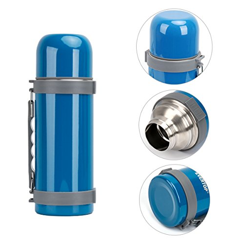 35.2 OZ Stainless Steel Sports Travel Mug, Insulated Vacuum Thermos Bottle with Handle Grip and Cup Lid - Blue