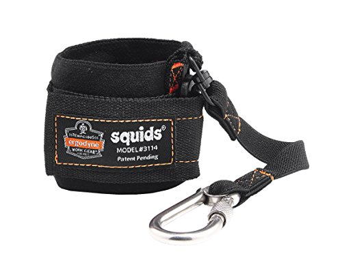 Squids 3114 Pull-On Wrist Lanyard with Carabiner, Black - Safety Wrist Lanyard