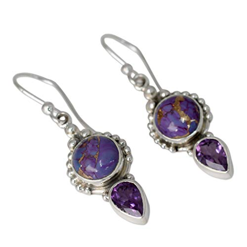 - Amethyst Earrings Sterling Silver with Gold Filled, Dangling Gemstones Vintage Jewelry Moonstone Hook Stud Earring Women Gift (Purple)