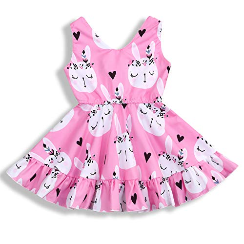 (YOUNGER TREE Toddler Baby Girl Dress Bunny Print Sleeveless Casual Princess Dresses Kids Outfits (6-12 Months, Pink # Bunny))