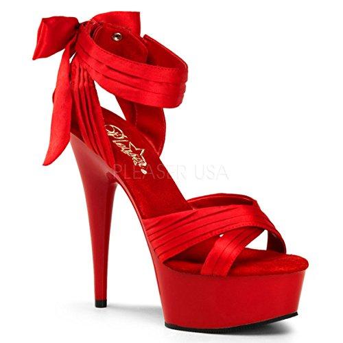 Bow Sandals Satin (Pleaser Women's Delight-668 Sandal,Red Satin,10 M US)