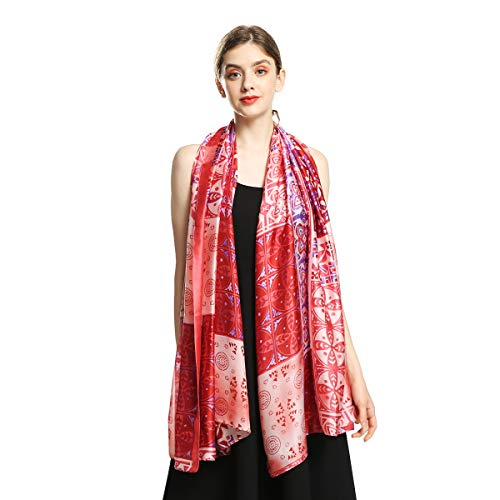 (100% Silk Scarfs for Women Large Long Sunscreen Satin Shawls Fashion Lightweight Floral Pattern Scarves for Ladies (Red))